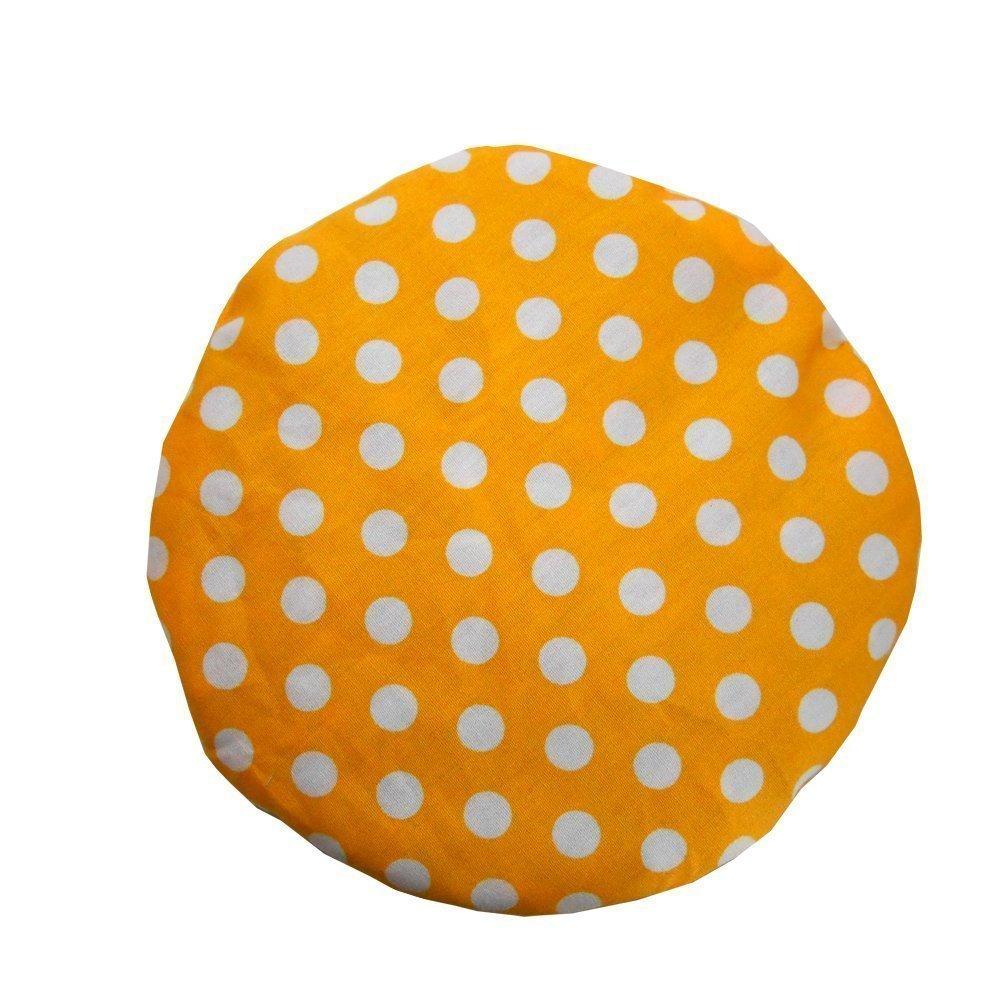 Cuscino termico di noccioli di ciliegia 'Cerchio giallo', ideale per neonati e bambini piccoli, trattamento a freddo/calore, 16cm, 100% cotone, contiene 150 g di noccioli di ciliegia
