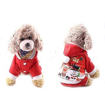 Luxuon Mascota Perro Sudadera con Capucha, Perro Abrigo de Navidad Informal botón de impresión Cierre Invierno cálido Sudaderas con Capucha Navidad algodón ...
