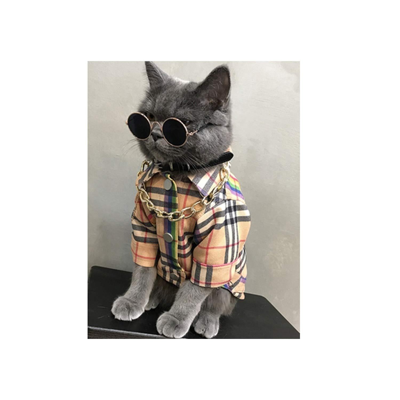 Encounter_meet cat Clothes disfraces para mascotas Cute Clothes Plaid pet Clothes pet Costume Sweaters,Yellow,S
