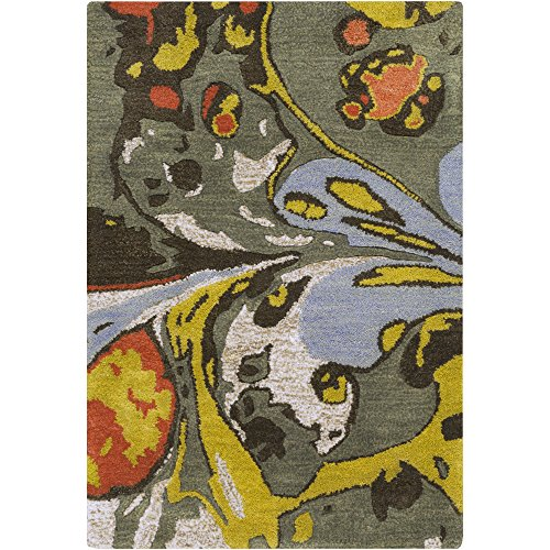Surya Banshee BAN-3310 Contemporary Hand Tufted 100% New Zealand Wool Clover 2'6'' x 8' Abstract Runner by Surya