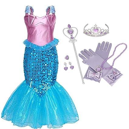 IWFREE Vestido Disfraz de Sirena Traje para Niña, Disfraz ...
