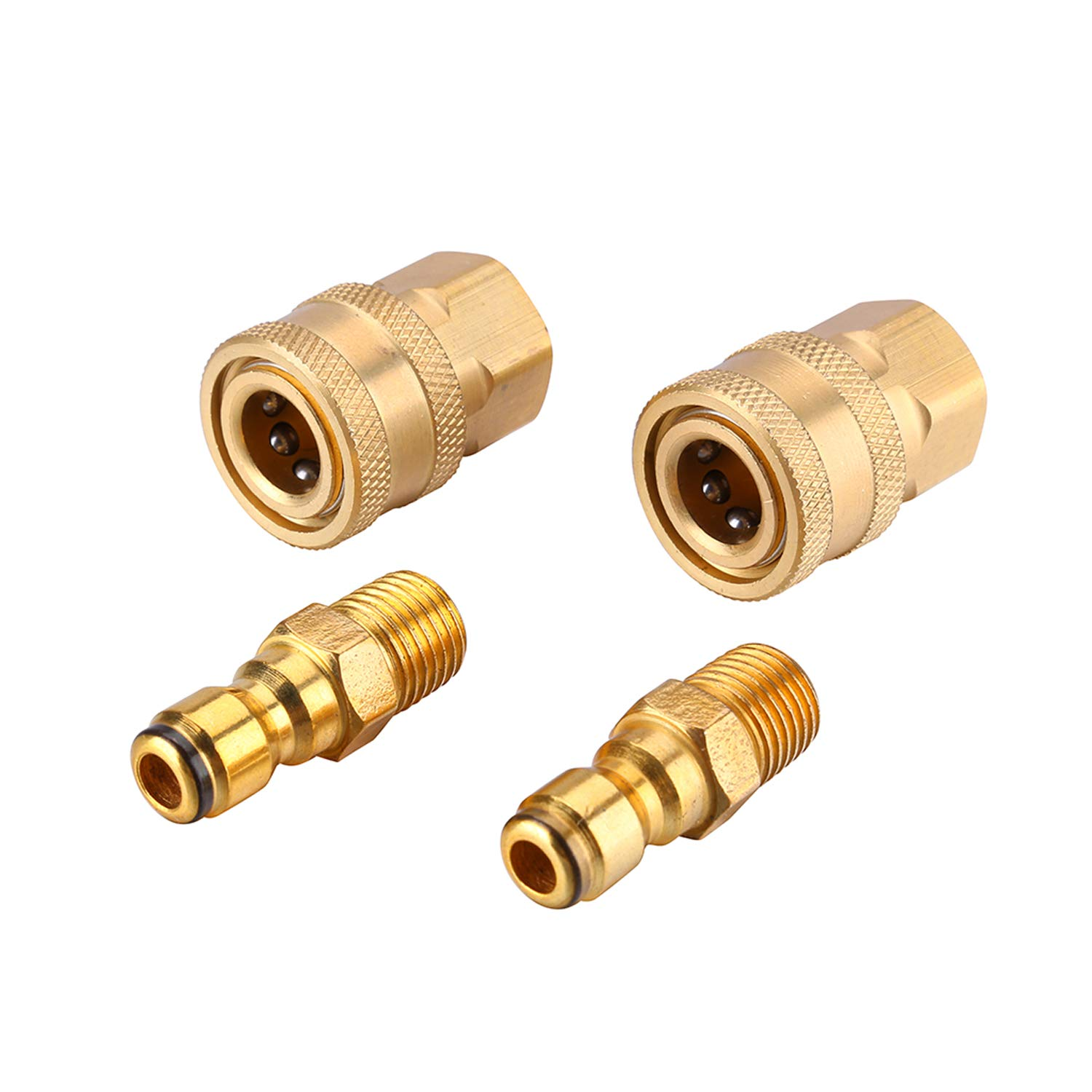 """Challco 1/4 inch Quick Connect Pressure Washer Adapter Set, Quick Disconnect Coupler, 1/4"""" FPT & MPT, 5000 PSI 4 Pack"""
