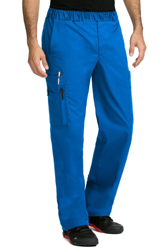 Med Couture MC2 by Men's Red Alert Tactical 8709 Zip Fly Cargo Scrub Pant- Royal Blue- 3XL