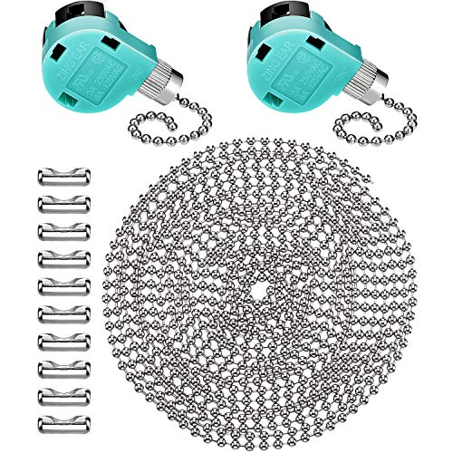 (Jetec 2 Pack Ceiling Fan Switch 3 Speed ZE-268S6 and 10 Feet Beaded Pull Chain Extension with 10 Connectors for Ceiling Fans Lamps and Wall Lights (Silver Pull Chain))