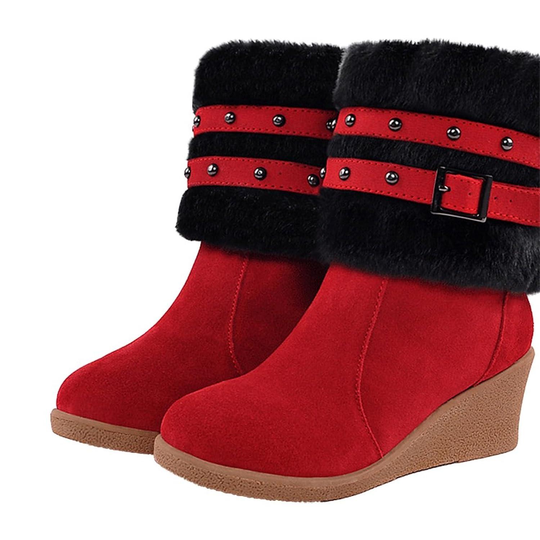 Xianshu Damen Keilabsatz Niet Schnalle Gürtel Warm Schnee Stiefel Rot