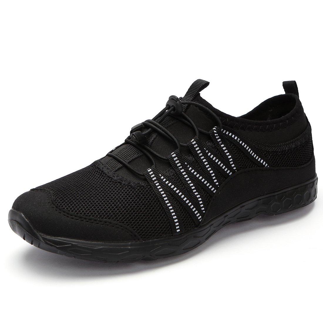 Aqua Water Shoes Men Women-Quick-Dry Lightweight for Summer Water Sports Outdoor Beach Pool Exercise,All Black-073,40 EU-Men 7.0 / Women 8.5 US