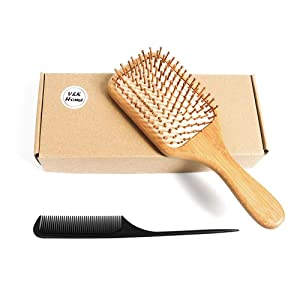Hairbrush, Wooden Bamboo Hair Brush For Women Men, Thick Thin Curly Hair, Detangling Massaging, Premium Paddle, Pins and Rubber, Softly Massage and Relax Your Scalp, Detangler