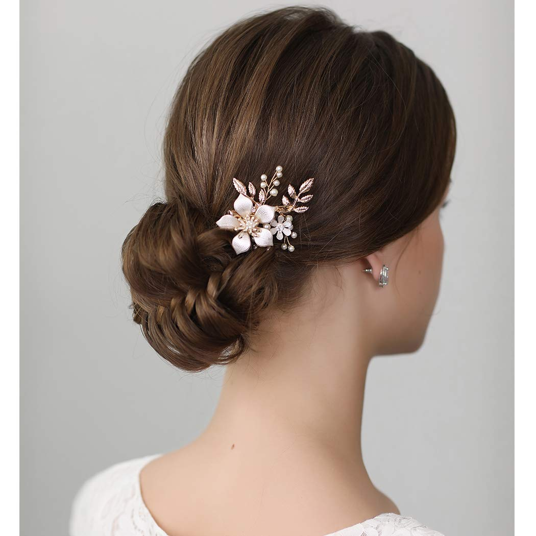 SWEETV Gold Bridal Hair Clip,Floral Bridal Hair Comb Barrette Flower Hair pieces for Brides Wedding by SWEETV