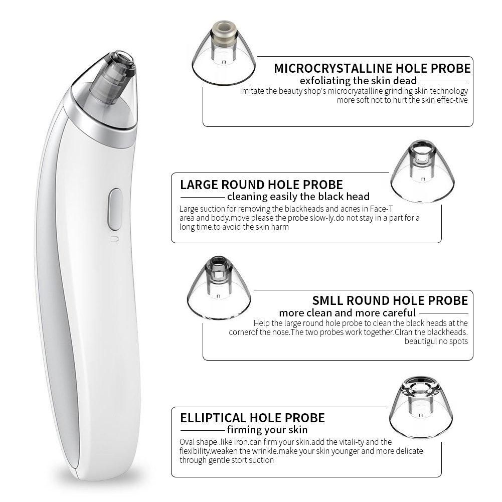 Bestidy Portátil USB Eléctrico de Poro Blackhead Acné Remover Vacío Succión Eliminación facial poro limpiador nariz limpiador blackhead limpiador ...