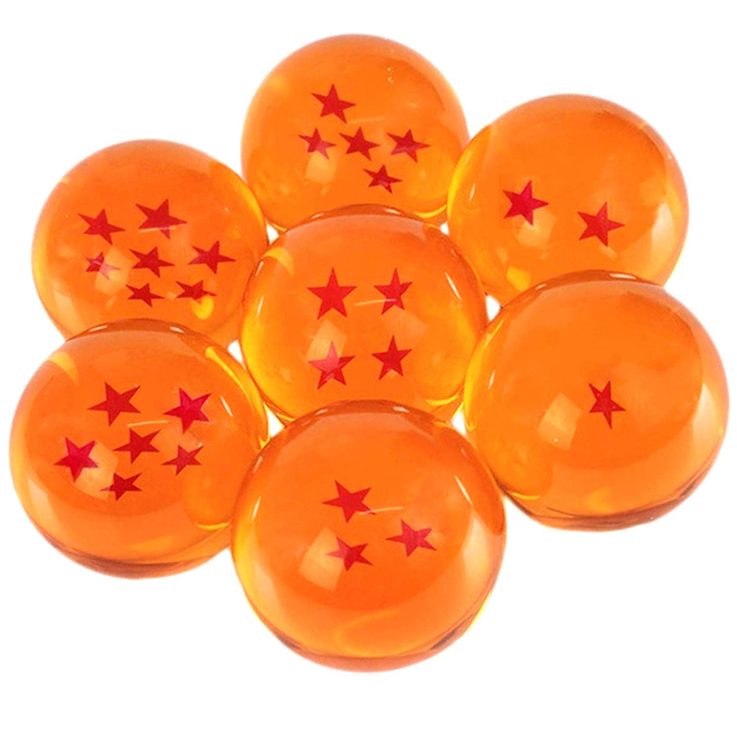 PLAYOLY New Dragonball Z Stars Crystal Glass Ball 7pcs with Gift Box, Large 76MM in Diameter by PLAYOLY
