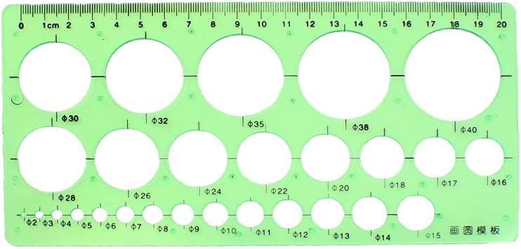 2mm-40mm Diameter Range Circles Plastic Stencil Template Ruler ...