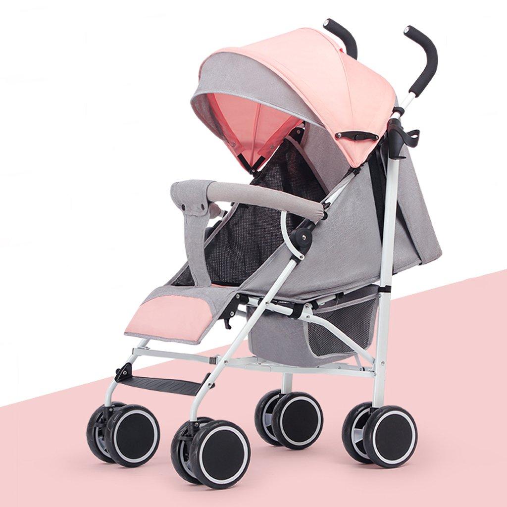 赤ちゃんベビーカー軽量折り畳み式リクライニングポータブルトロリー子供傘、ピンク/グリーン/カーキ/ダークグリーン、61 * 35 * 96cm ( Color : Pink ) B07BW5CT68