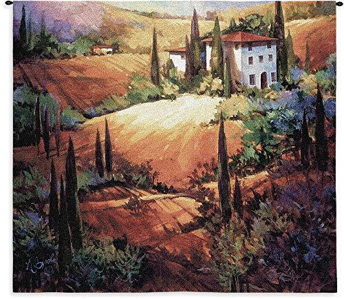 - Morning Light by Nancy O'Toole | Woven Tapestry Wall Art Hanging | Warm Sunset on Tuscan Villa Landscape | 100% Cotton USA Size 53x53