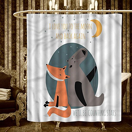 """Price comparison product image warmfamily I Love You shower curtains 3D Digital Printing Bear and Fox in Love Counting Stars at Night Animal Birthday Print Bathroom Set with Hooks 36""""x72"""" Orange Slate Blue Grey"""
