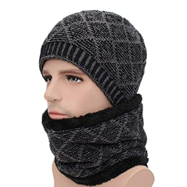 DOMREO Winter Skullies Beanies Men Scarf Knitted Hat Caps Male Mask Gorras  Bonnet Warm Winter Hats Women Beanies Hats at Amazon Women s Clothing store  c78f003789e