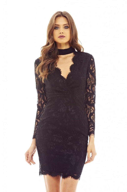 AX Paris Womens Black Lace Choker Bodycon Dress Glamorous Stylish Fashion