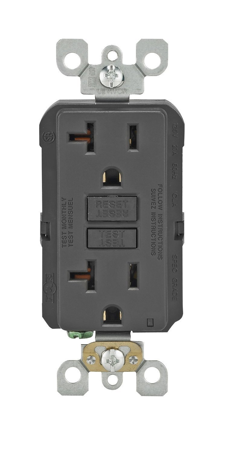 Leviton GFNT2-E Self-Test Smartlockpro Slim GFCI Non-Tamper-Resistant Receptacle with LED Indicator, 20-Amp, 10 Pack, Black