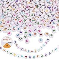 KAIMIRUI 1200 Piezas Cuentas del Alfabeto MulticolorMezclado Redondo Acrílico Cuentas de Letras Redonda de Corazón de…