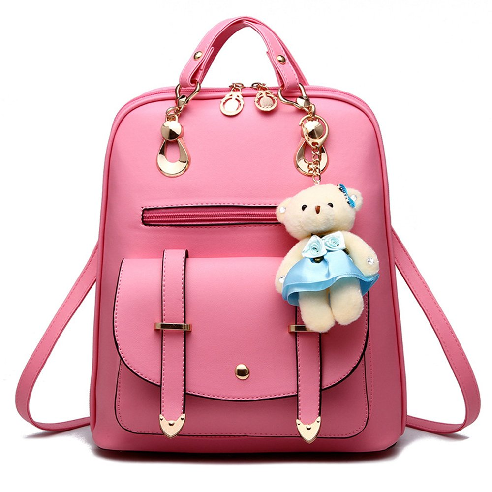 BAG WIZARD Women Fashion Mini Backpack Purse Cute Quilted Leather Pink Back Pack Purses for Girls