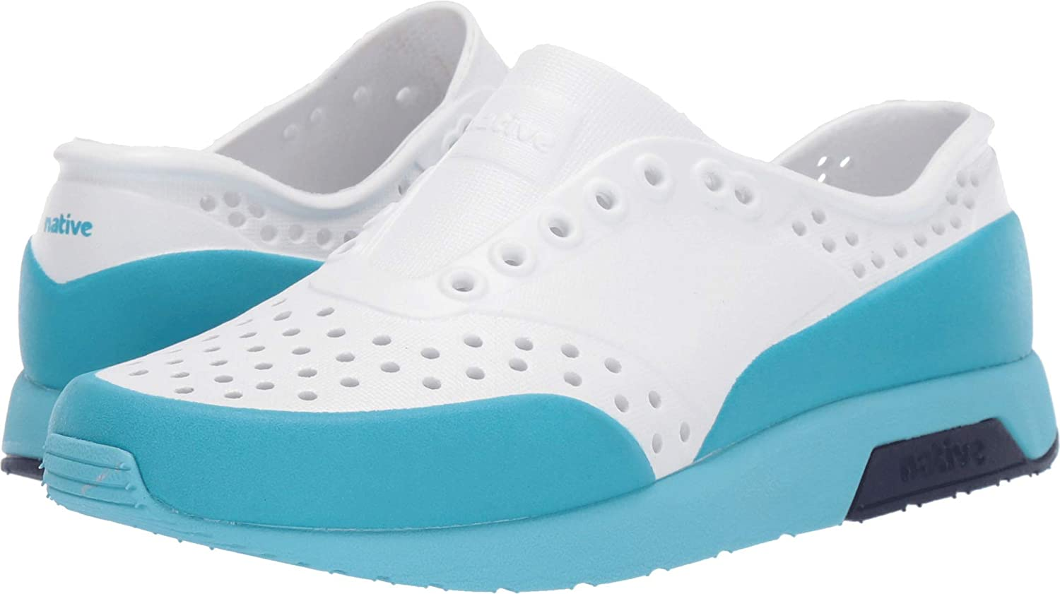 Little Kid Shell White//Hamachi Blue//Regatta Blue//Ultra Blue Glow Block 3 M US Little Kid Native Kids Shoes Unisex Lennox Block