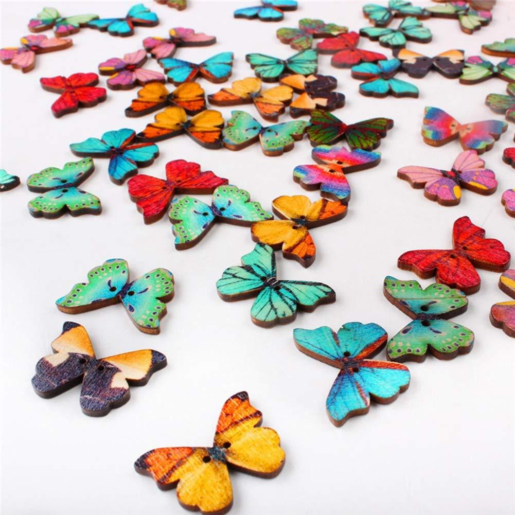 Outflower 50PCS colorato bottoni farfalla 2 fori bottoni in legno cute Animal decorazione bottoni per cucire/scrapbooking/fai da te a mano –  colori casuali