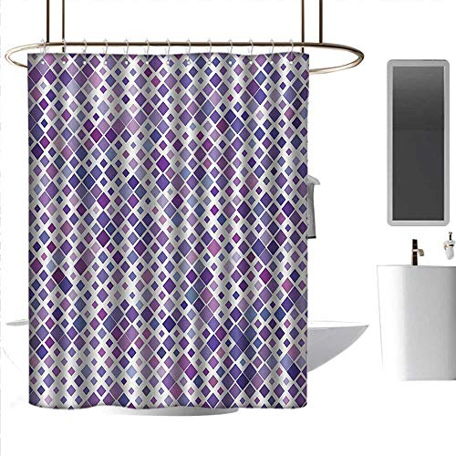homehot Blue Shower Curtains for Bathroom Lavender,Retro Mosaic Creative Pattern Square Rhythm Abstract Art Print Design,Violet Purple White,W108 x L72,Shower Curtain for Kids