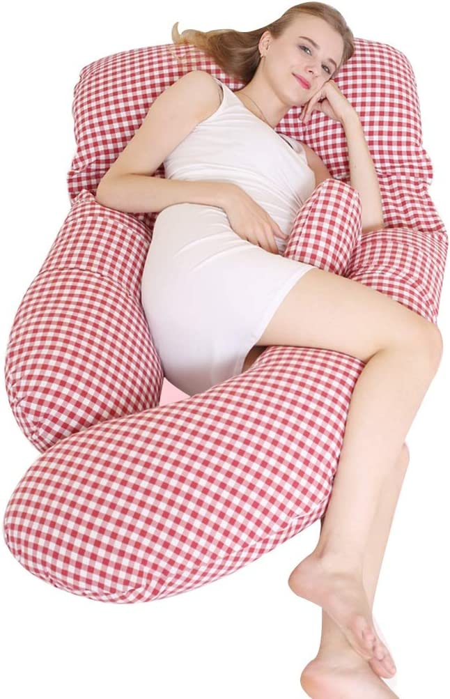 B07SJ5D7WD Pregnant Women Pillow Side Sleeping Pillow Pillow Lumbar Pillow Children's Fence Four Seasons Apply Bed Linings Feeding Pillow (Color : Red) 61jnR-UoUOL.SL1024_