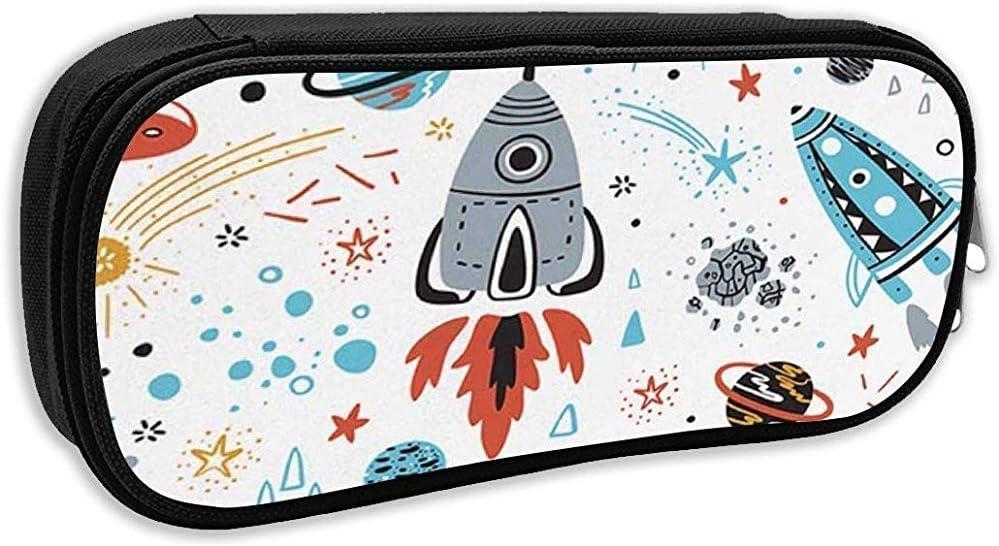 Estuche escolar, Fondo espacial Dibujos animados Cohetes Planetas Estrellas Cometas y ovnis Patrón sin costuras C Bolígrafo Bolso Papelería de oficina: Amazon.es: Oficina y papelería