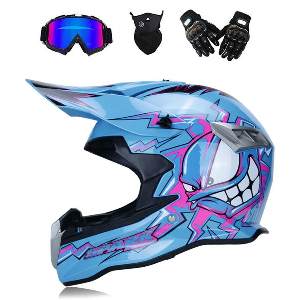Youth S-XXL, Style 6 M-TK Casco per Adulti Dirt Bike off Road Motocross Moto ATV AM Casco Integrale per Mountain Bike MX Completo Casco DOT//Occhiali//Maschera//Guanti