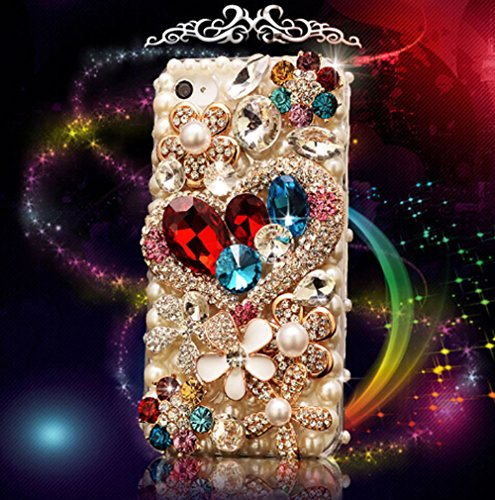 Galaxy S7 Edge Case, LU2000 3D Crystals Diamond Sparkle Bedazzled Jeweled [Heart Shape Series] Bling Phone Hard Case For Samsung Galaxy S7 Edge G9350 AT&T Verizon Sprint T-mobile All (Bling Cell Phone Case)