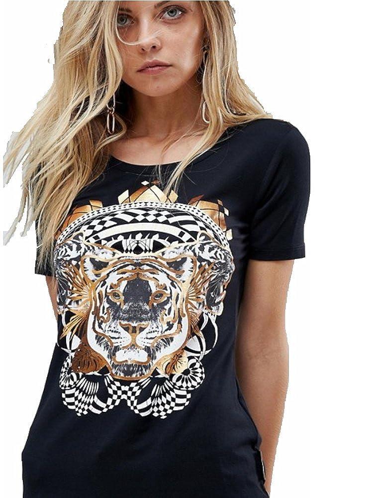 Jeans Tigre Con Cortas Luxury Mujer Negra Manga Camiseta Versace hQxBtsrCd