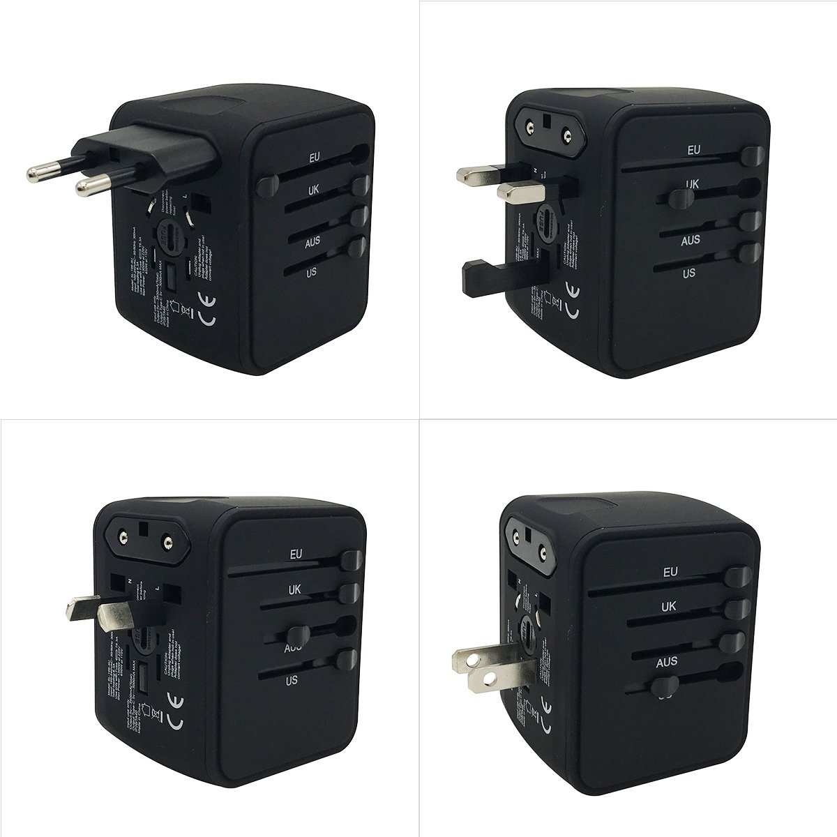 VIGICA Universal mundo viaje adaptador Internatinal enchufe (Reino Unido/UE/AU/us) 4 USB tipo C adaptador de carga toma de corriente seguridad FUSED: ...
