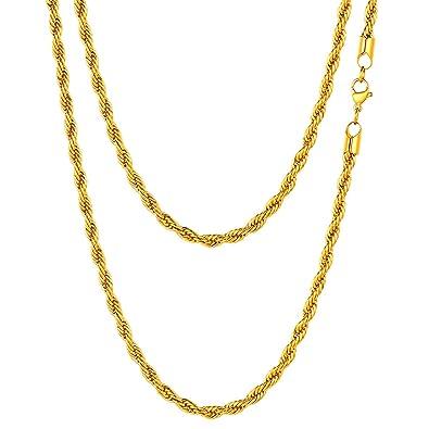 FOCALOOK Collar Hombre Cadena Malla Cuerda 3mm Cadena Básica de Acero Inoxidable Bañado en Oro/Oro Rosado/Negro 45-70cm Opcional con Caja de Regalo