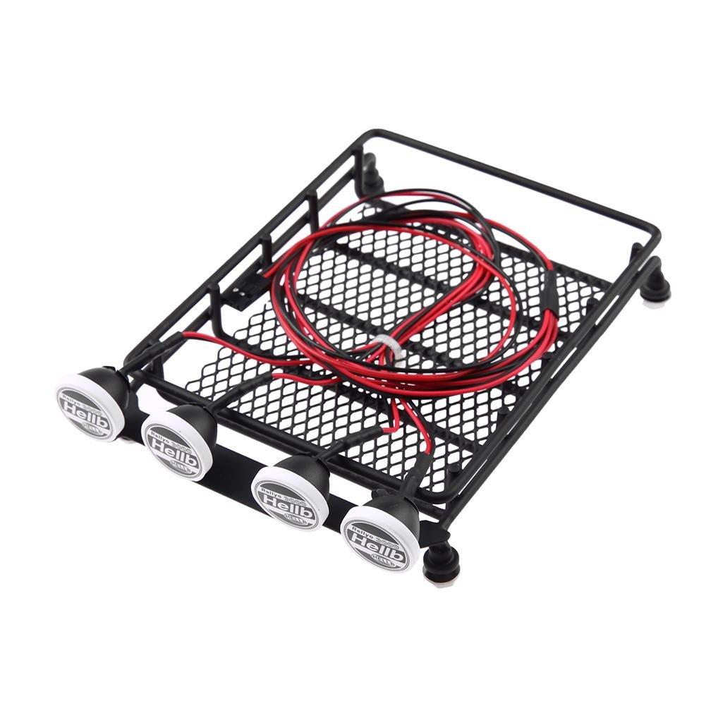 Amazon.com: chinatera RC Crawler Universal Roof Luggage Rack LED Lights Round: Toys & Games