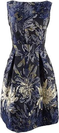 Jessica Howard Women/'s Metallic-Skirt Fit /& Flare Dress