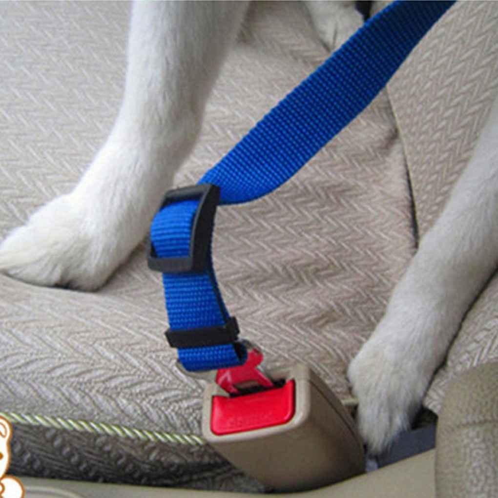 Cintur/ón de seguridad de coche Perros Gatos autom/ático de seguridad ajustable recorrido del animal dom/éstico del arn/és del perrito gatito correa Clip plomo Regard
