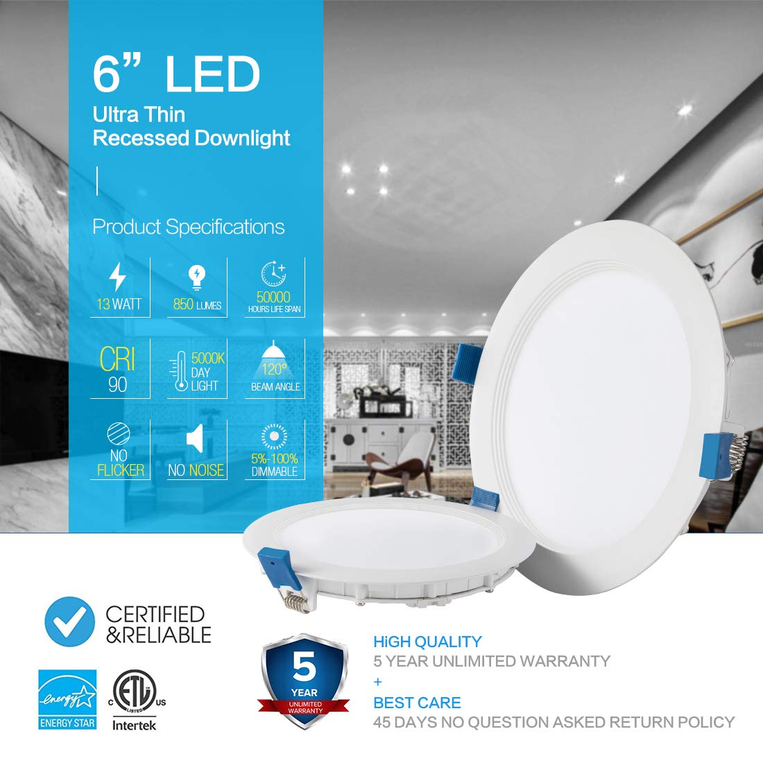 SAATLY 13W 6 inch LED Recessed Lighting ETL /& Energy Star Certified 5000K Daylight Dimmable Ultra Thin Ceiling Downlight with Junction Box Pack of 4 850lm 110W Eqv