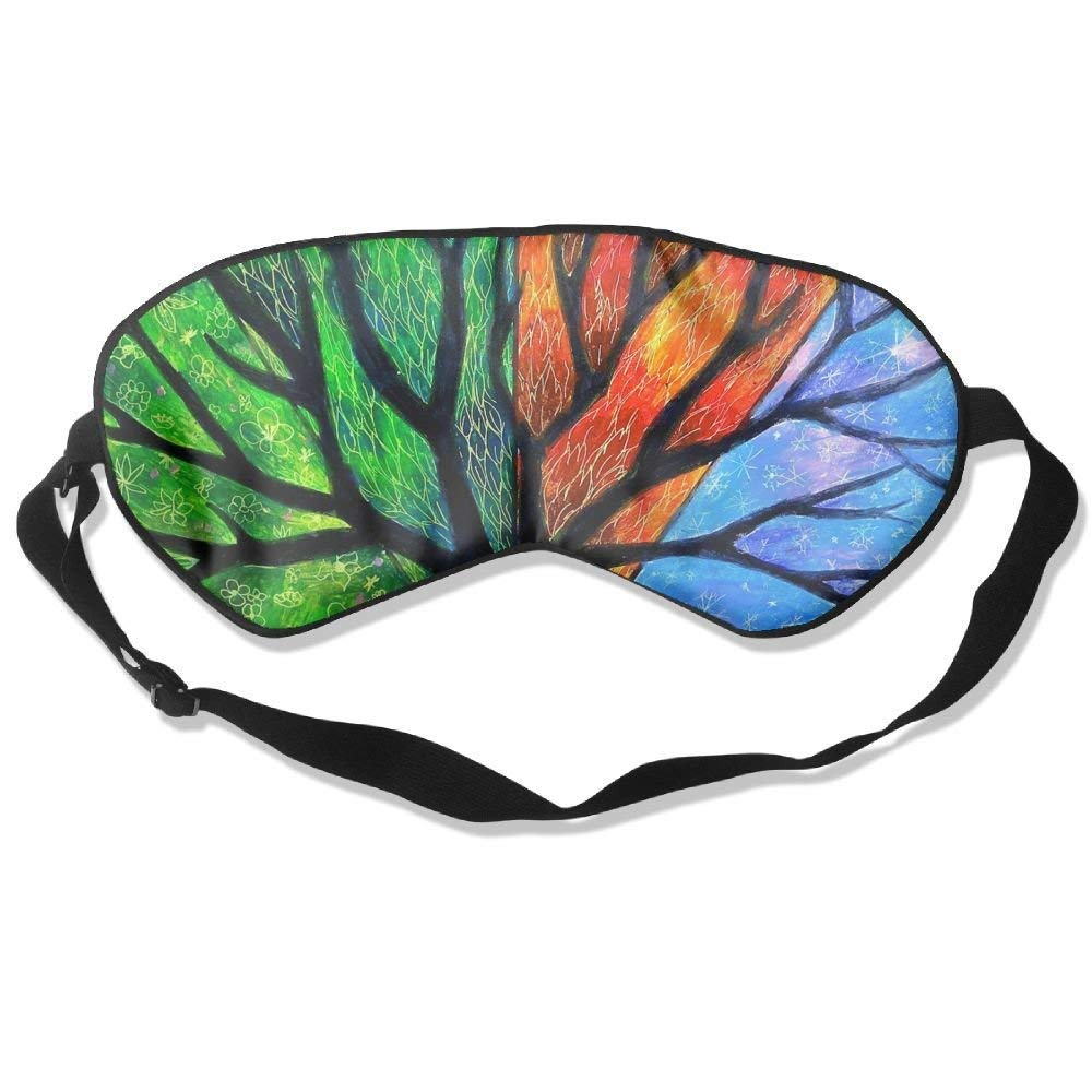 100% Natural Silk Sleep Mask & Blindfold Super-Smooth Eye Mask, Hypoallergenic, Anti-aging, Anti-eye Wrinkles, Light-blocking, Colorful Four Seasons Trees