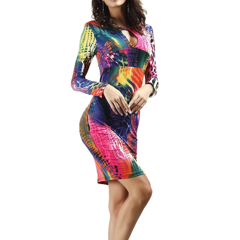 Frauen Printed Long Sleeve tiefem V-Ausschnitt, figurbetontes Slim Wrap-Party-Bleistift-Kleid S-2XL