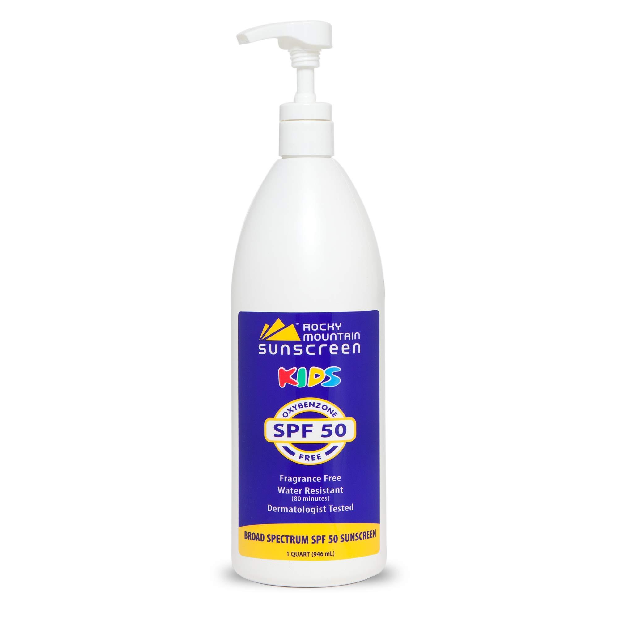 Rocky Mountain Sunscreen - Kids, Quart, SPF 50 Lotion - Oxybenzone Free, No Octinoxate, Reef Friendly, Hypoallergenic, Water Resistant 80 Min, Gluten Free, Bulk