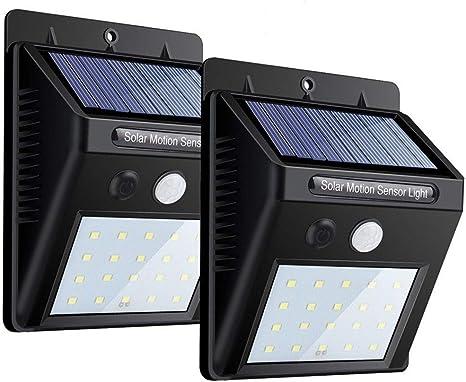 Solar Lights 2 PACK, 20 LEDs Sensor de movimiento Wall Light ...