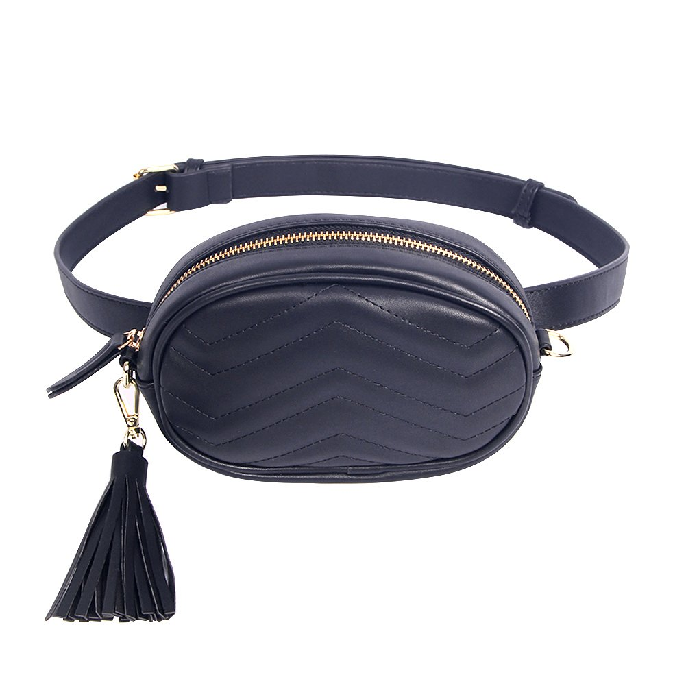 Badiya Women Waist Bags Ladies Tassel Fanny Packs Stylish Travel Cell Phone Bum Bag