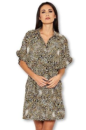 dc5718d078e5b AX Paris Women's Animal Print Shirt Dress at Amazon Women's Clothing store: