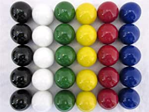 """LY1122 30 Large 1"""" (25mm) Replacement Marbles Aggravation Board Game Solid Color Glass, 6 Colors, 5 of Each"""