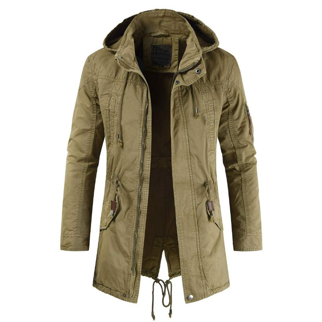 YKARITIANNA Men's Long Jacket Jacket for Leisure Fashion Simple Comfortable Coat 2019 Summer Khaki by YKARITIANNA Clothing (Image #3)