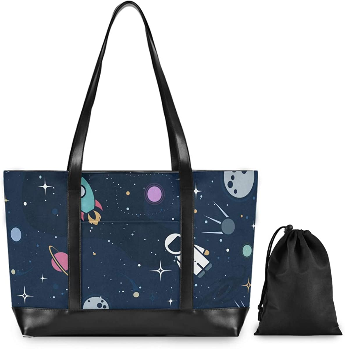 Space Rocket Astronaut Sun 15.6 Inch Laptop Tote Bag For Womens Large Tote Bag Lightweight Shoulder Bag Multi-Pocket Canvas Leather Business Work Office Briefcase for Computer