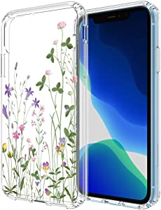 Flocute Clear Floral Case for iPhone 11 Floral Case Flower Pattern Slim Girly Protective Case with Soft TPU Bumper Hard PC Back Cover (Green)