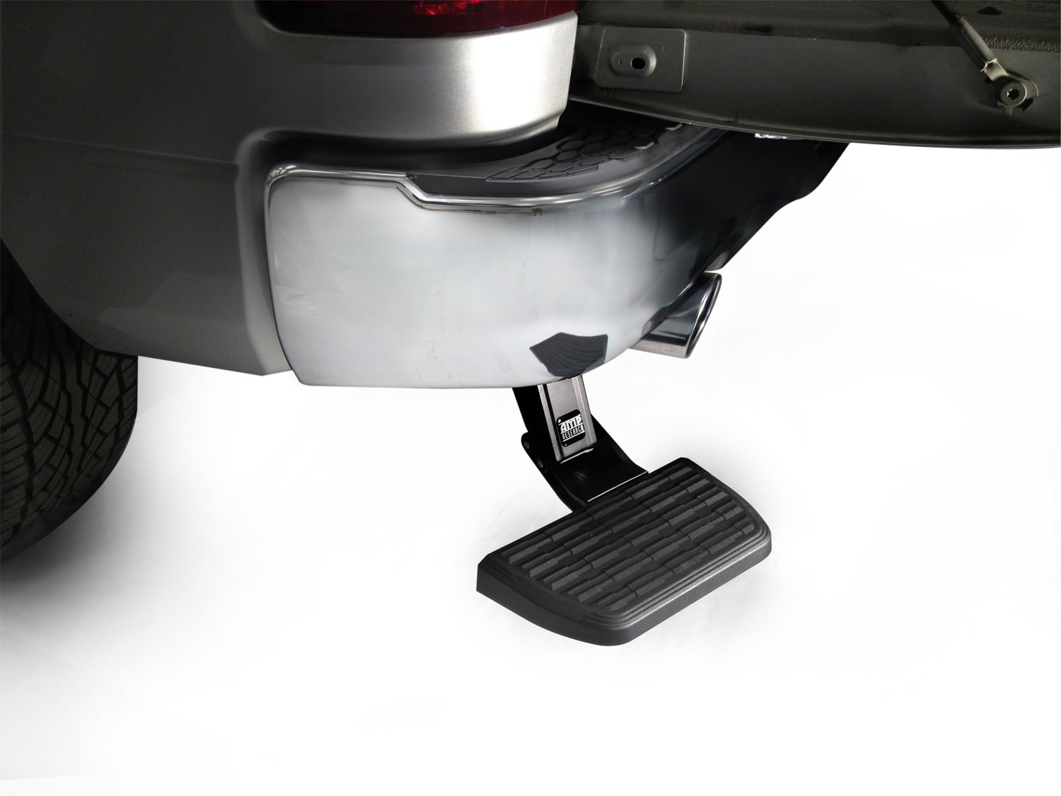 AMP Research 75310-01A BedStep Retractable Bumper Step for 2009-2018 Ram 1500 with Dual Exhaust by AMP Research (Image #1)