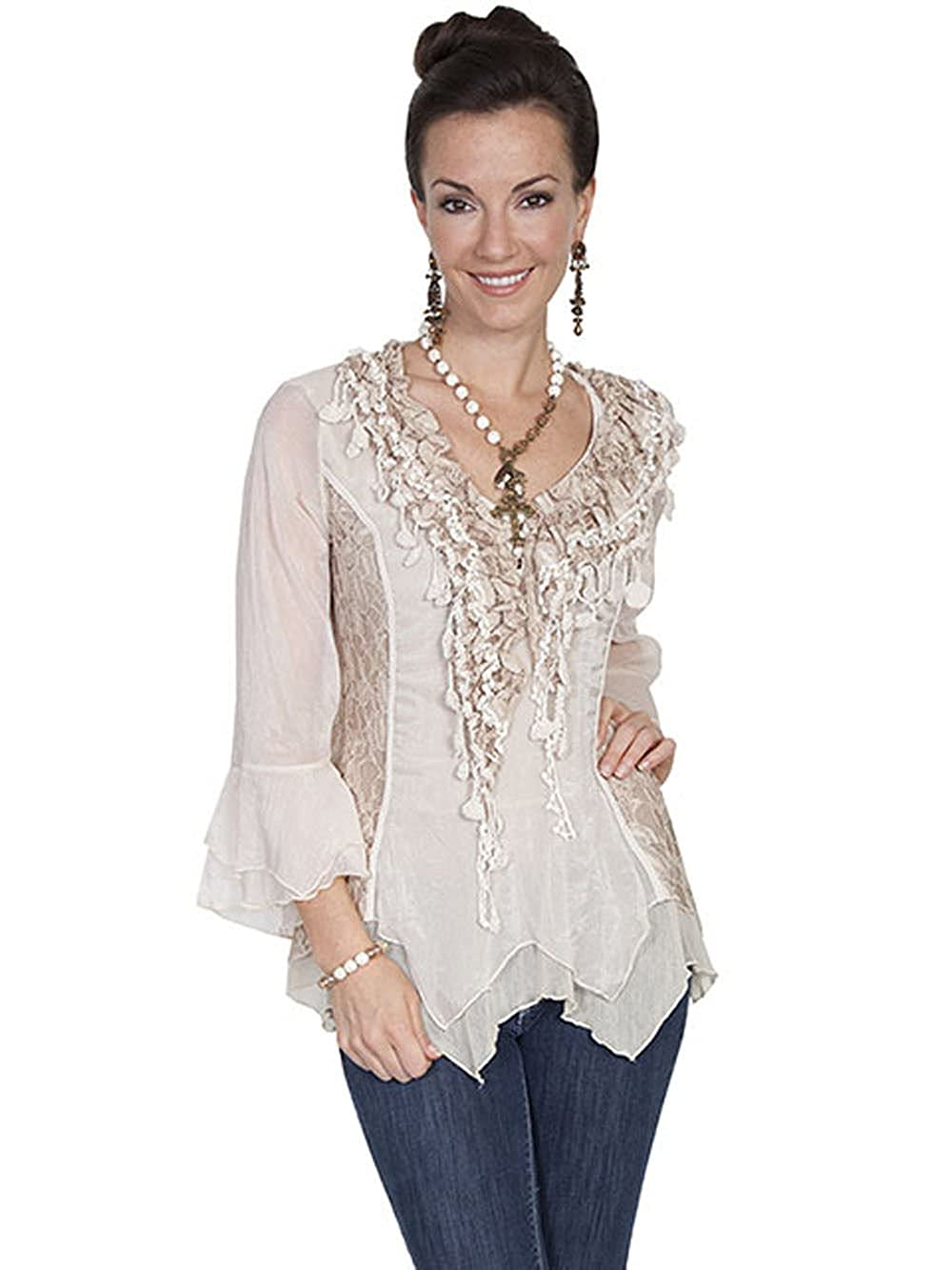 df80c84b Scully Women's Lace and Ruffle Blouse at Amazon Women's Clothing store: