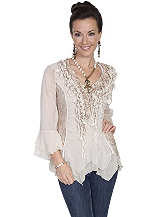 dbf419c0 Scully Women's Lace and Ruffle Blouse at Amazon Women's Clothing store: